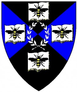 The device of the College of St Bartholomew - residing in the Barony of Stormhold, from the Lochac Roll of Arms.