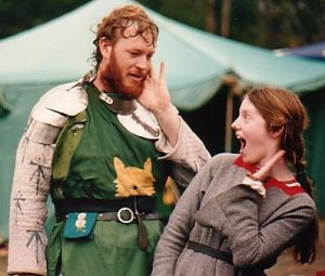 Reynardine and Eleanor, 1st Prince and Princess of Lochac. Photo by John of the Hills, First Coronet at Rowany Festival, 1987.
