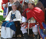 King Alfar II and Queen Guthrin II. Photo from the Lochac Kingdom website