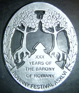 Rowany Festival event token from AS47 (2012). Photo by Baroness Medb ingen Iasachta April 2014