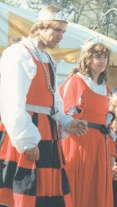 Corin and Keridwen, 17th Prince and Princess of Lochac. Photo by John of the Hills, Rowany Festival 1994.