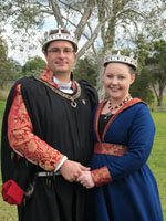 King Cornelius III and Queen Elizabeth I. Photo from Lochac Kingdom website
