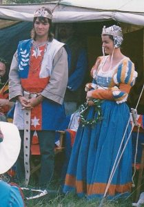 Elfinn and Rowan, 6th Prince and Princess of Lochac. Photo by John of the Hills, Autumn Coronet, April 1990.