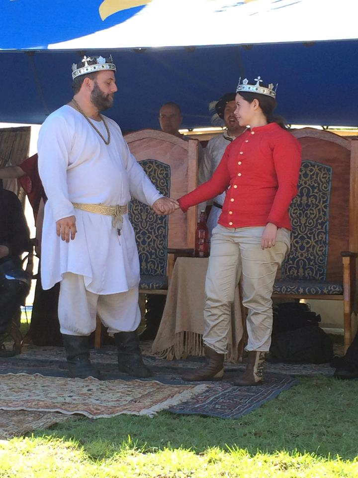 Alfar and Angharat at May Crown in the Barony of Aneala. Photo by THL Ceara Shionnach May 2014