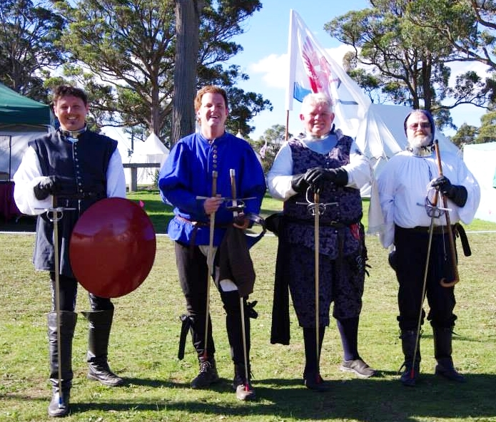 The Red Company of the Griffin were victorious in the rapier teams tournament. Photo by Lady Zanobia Adimari April 2014