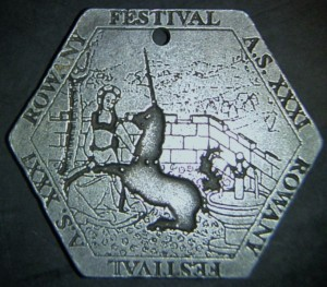 Rowany Festival event token from AS31 (1997). Photo by Baroness Medb ingen Iasachta April 2014