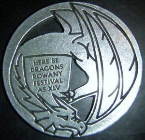 Rowany Festival event token from AS45 (2011). Photo by Baroness Medb ingen Iasachta April 2014