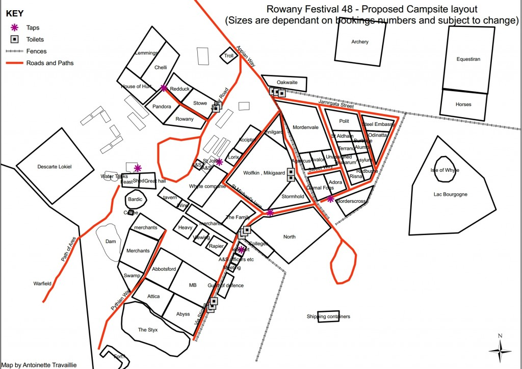 The camp map of Rowany Festival AS48, drawn by THL Antoinette Travaillie April 2014