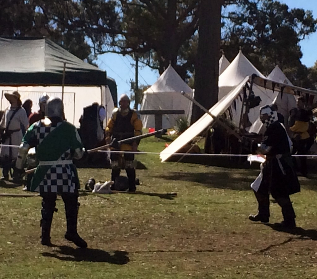 Sir Stigh and Harry in Henri's Polearm Tournament. Photo by THL Ceara Shionnach April 2014