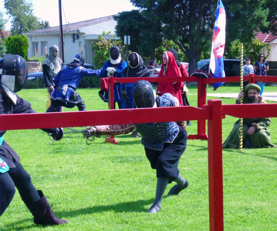 A rapier tournament was held at Innilgard's Baronial Investiture event. Photo by Lady Ursula Von Memmingen, April 2014