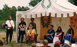 Brusi and Catherine, 5th and final Viceroy and Vicerine of the Crown Principality of Lochac. Photo by John of the Hills, Rowany Festival, 1987.