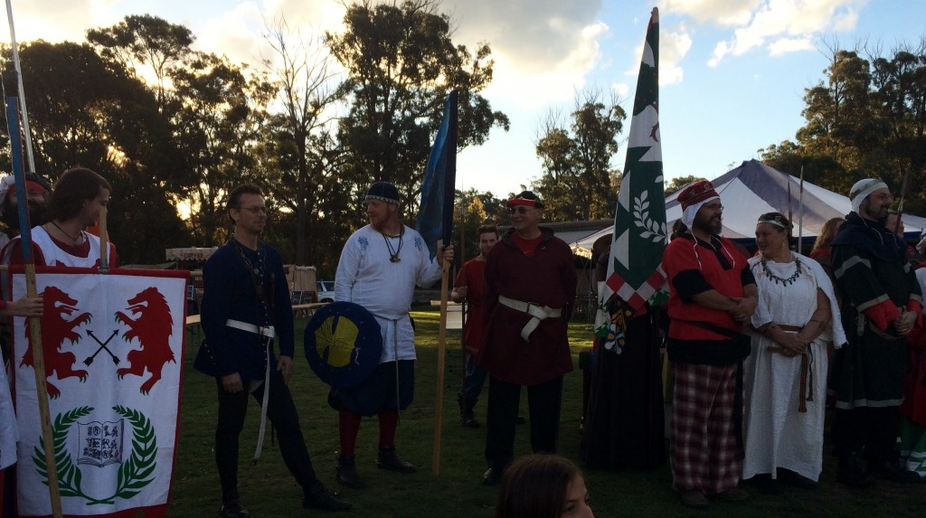The Barony of Rowany and her allies. Photo by THL Ceara Shionnach April 2014