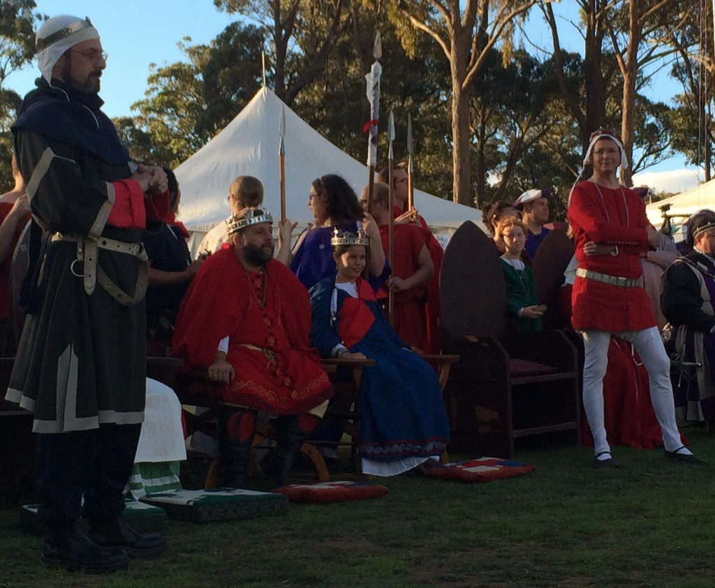 The Barons of Rowany and Politarchopolis go head to head over ownership of Okewaite in opening court at Rowany Festival Source: photo by THL Ceara Shionnach April 2014