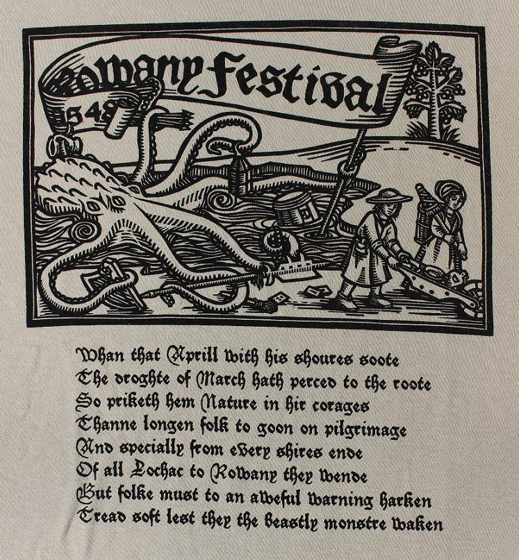 The Rowany Festival t-shirt design for AS48 depicted the Festival Monstre. Photo and design by Lady Eloise Darnell