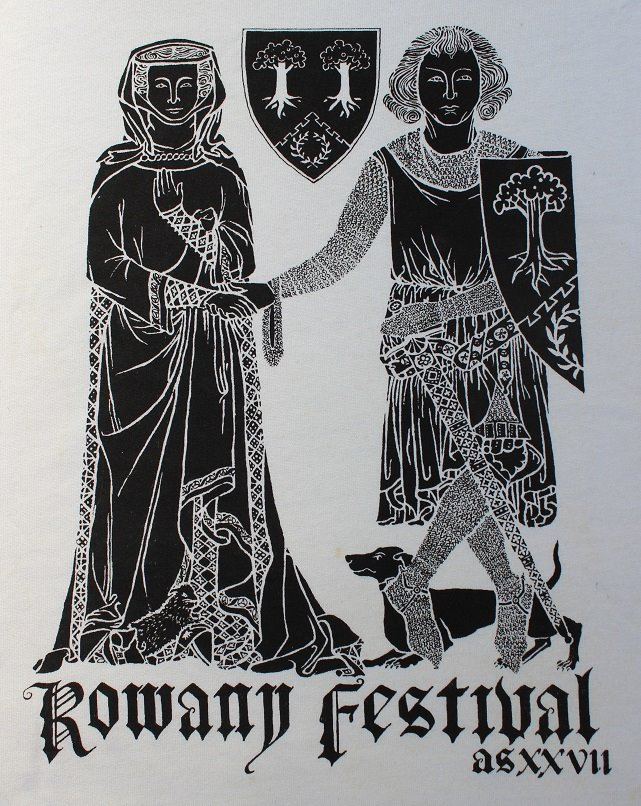 The Rowany Festival t-shirt design for AS27 of a brass rubbing. Photo and design by Lady Eloise Darnell