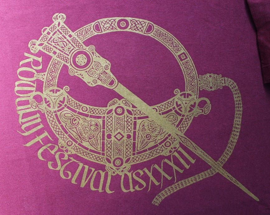 The Rowany Festival t-shirt design for AS32 was of the Tara Brooch. Photo and design by Lady Eloise Darnell