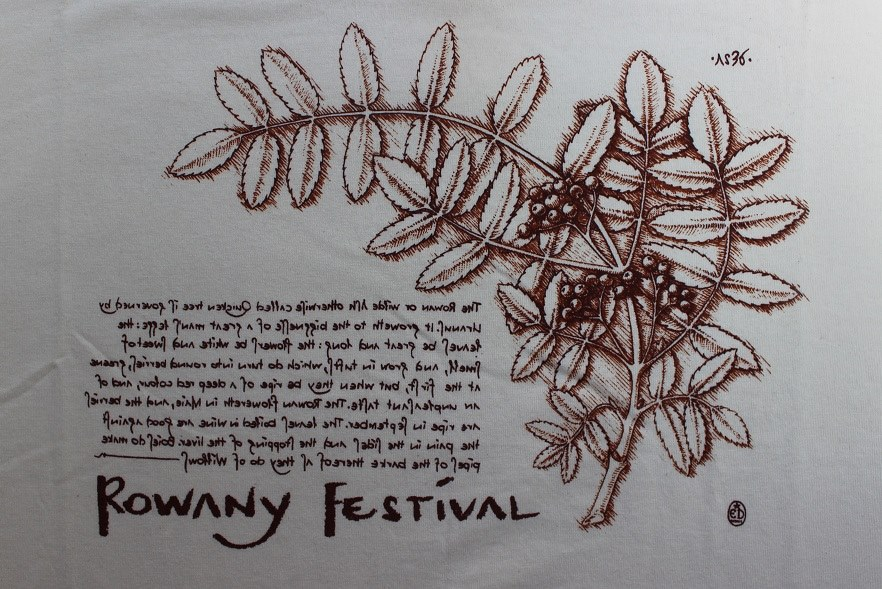 The Rowany Festival t-shirt design for AS36 of a Rowan branch. Photo and design by Lady Eloise Darnell