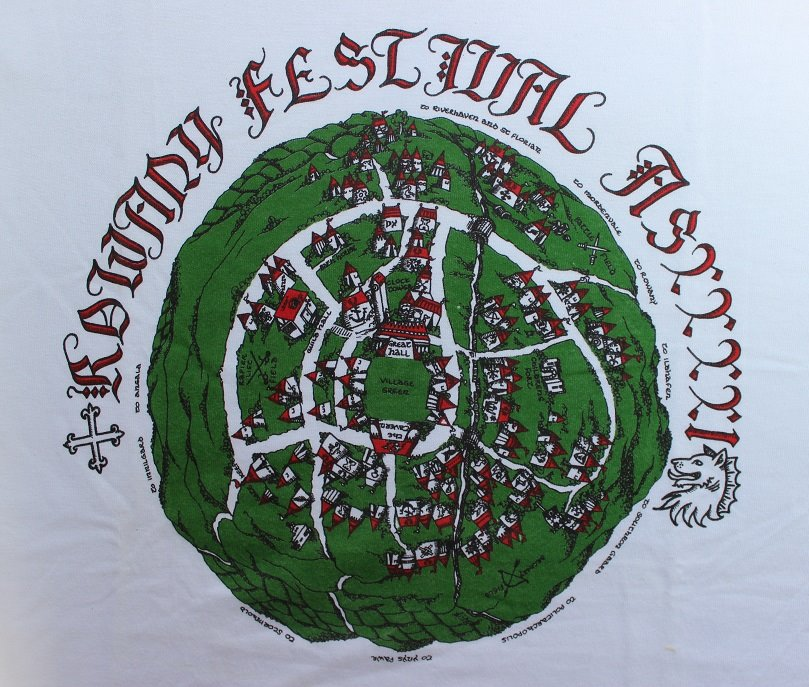 The Rowany Festival t-shirt design for AS41 depicting a map of the Crossroads site. Photo and design by Lady Eloise Darnell