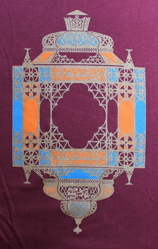 The Rowany Festival t-shirt design for AS43 of a Moroccan lantern. Photo and design by Lady Eloise Darnell