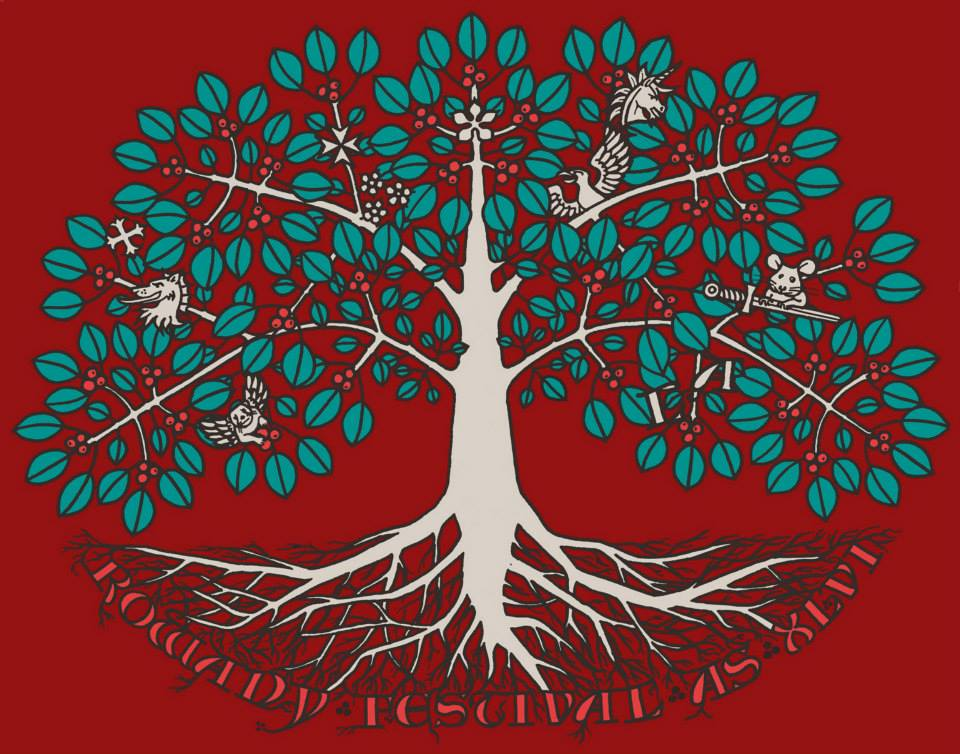 The Rowany Festival t-shirt design for AS46 was of a Rowan tree and marked the 30th Anniversary of the Barony of Rowany. Photo and design by Lady Eloise Darnell