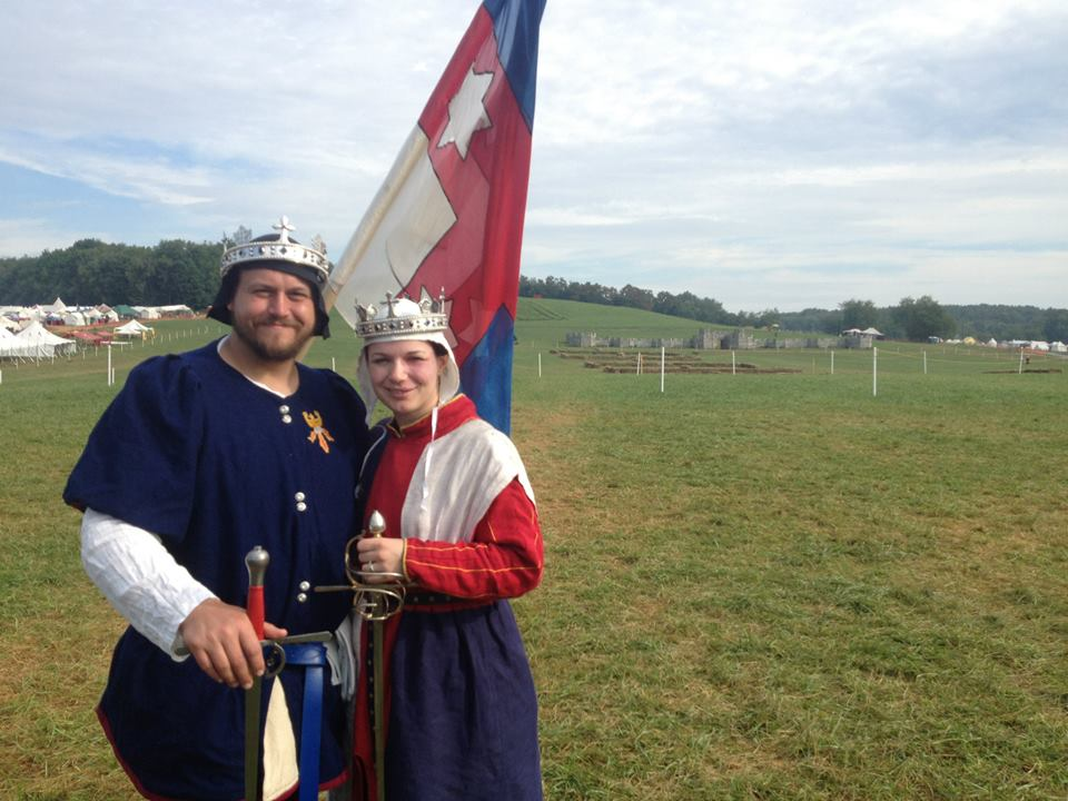 Niall I and Liadan I preparing for the rapier teams tourney at Pennsic War 42 (July-August 2013). Photo by Lady Ceara Shionnach August 2013