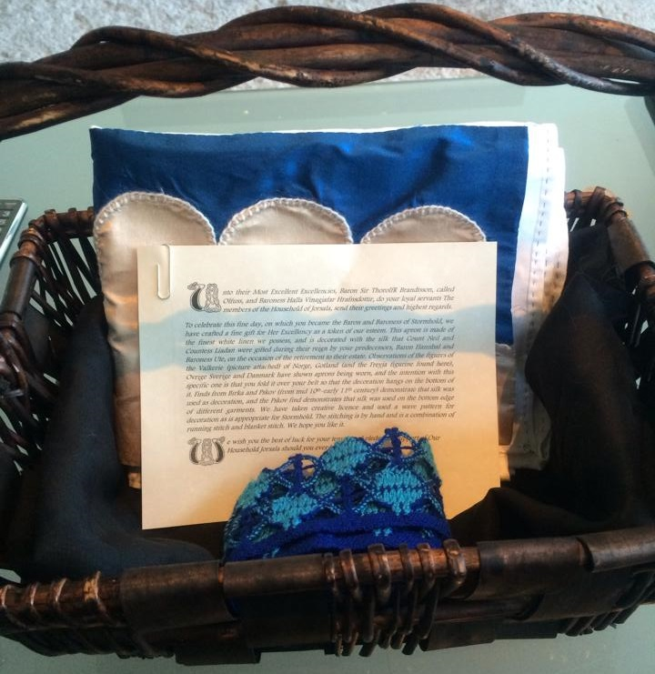 Gifts from the household Jorsala to the newly invested Baron and Baroness of Stormhold. Photo by Countess Liadan ingen Fheradaig, June 2014