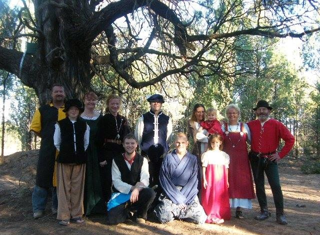 Left to right – Lord Terence of Radburne, Lord Gryffen Bladesmyth, Lady Katrijn van Delden, Lord Wolfstanus Crakesheld, Lord Valdemar Sigurdson, Lord Conrad Sturmere, Lord Denz de Bayle, Kristy of Radburne (holding Zara-Lee), Nikeita Hocking, Lady Johanna von Enschede and Lord Ranif Palleser Photo by Hans Geerdink, 2011