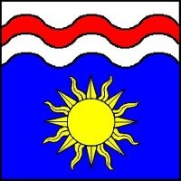 House Radburne device: Azure, a sun Or, on a chief wavy argent a bar wavy gules. Image provided by Lady Katrijn van Delden