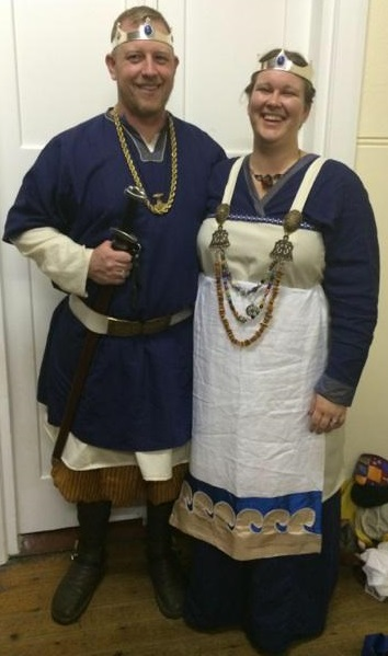 Baron ThorolfR and Baroness Halla, 8th Baron and 9th Baroness of Stormhold. Photo by Countess Liadan ingen Fheradaig, June 2014