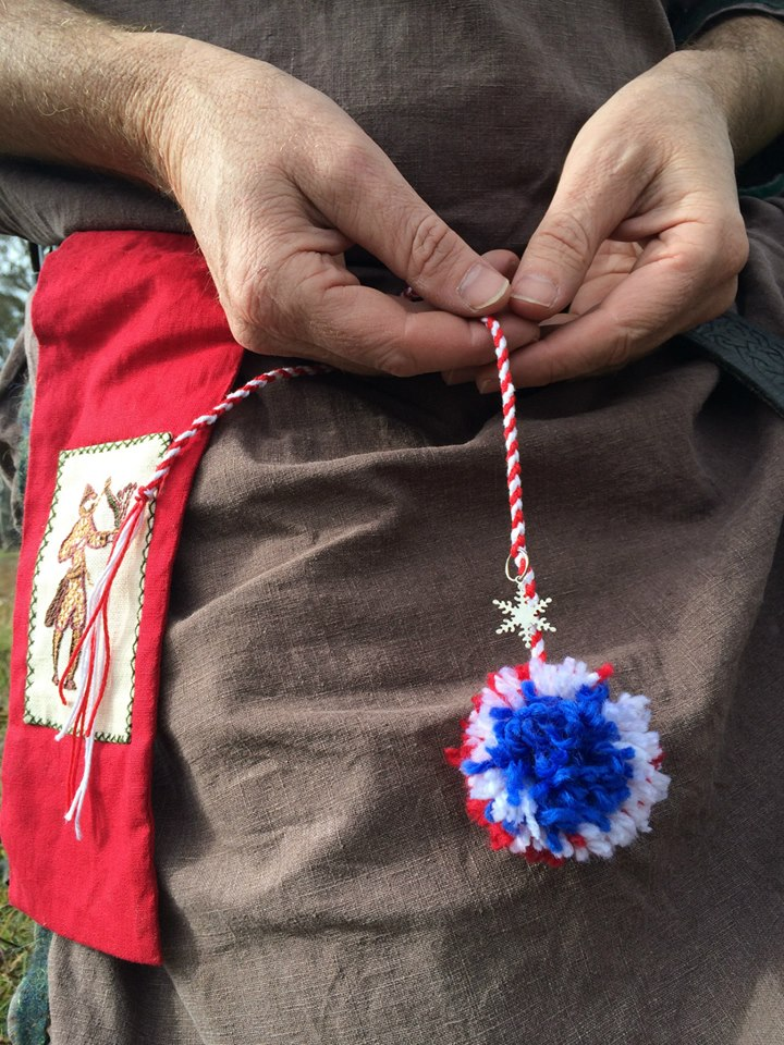 The winning archery tassels had a snowflake token representing Midwinter, were in Lochac colours (representing Kingdom and Royal) and the pom pom at the end represented the Round. Photo by TH Lady Ceara Shionnach, July 2014