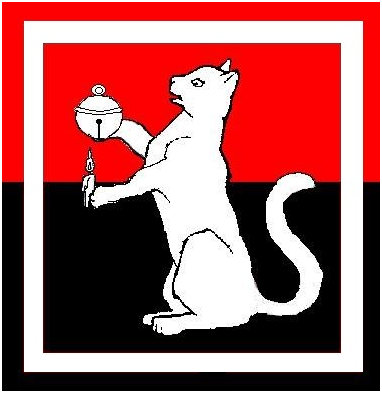 The household badge is: Per fess gules and sable, a cat sejant maintaining a bell and a candle argent within an orle argent.
