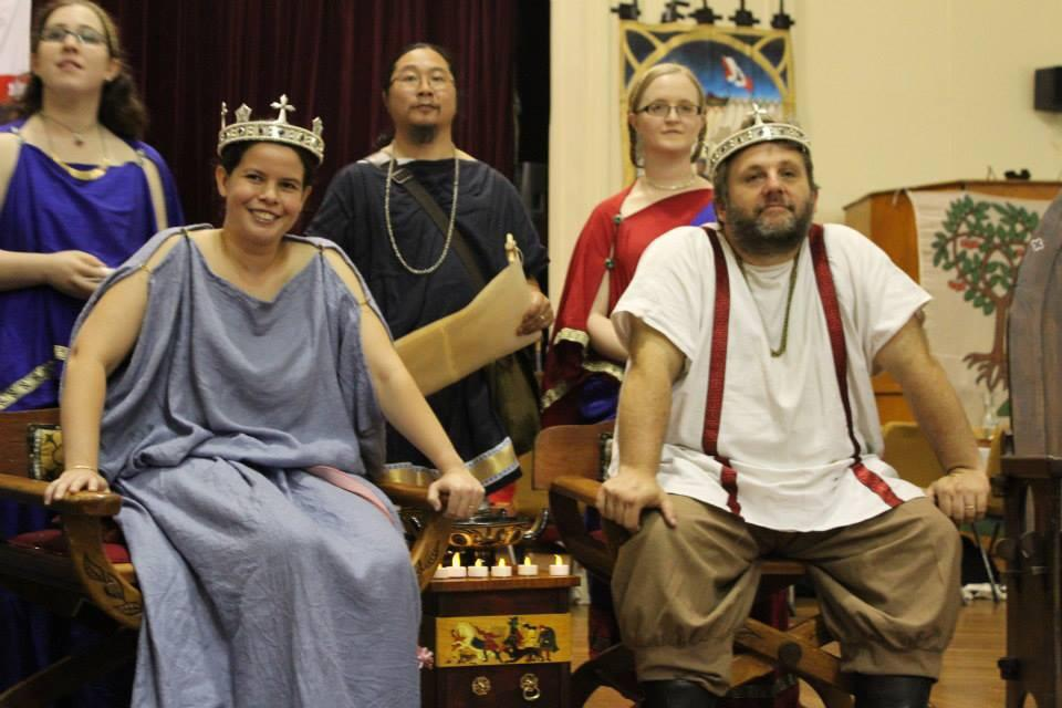 Epikrates heraldng for Their Majesties Alfar III and Angharat I. Photo by Bastian, March 2014