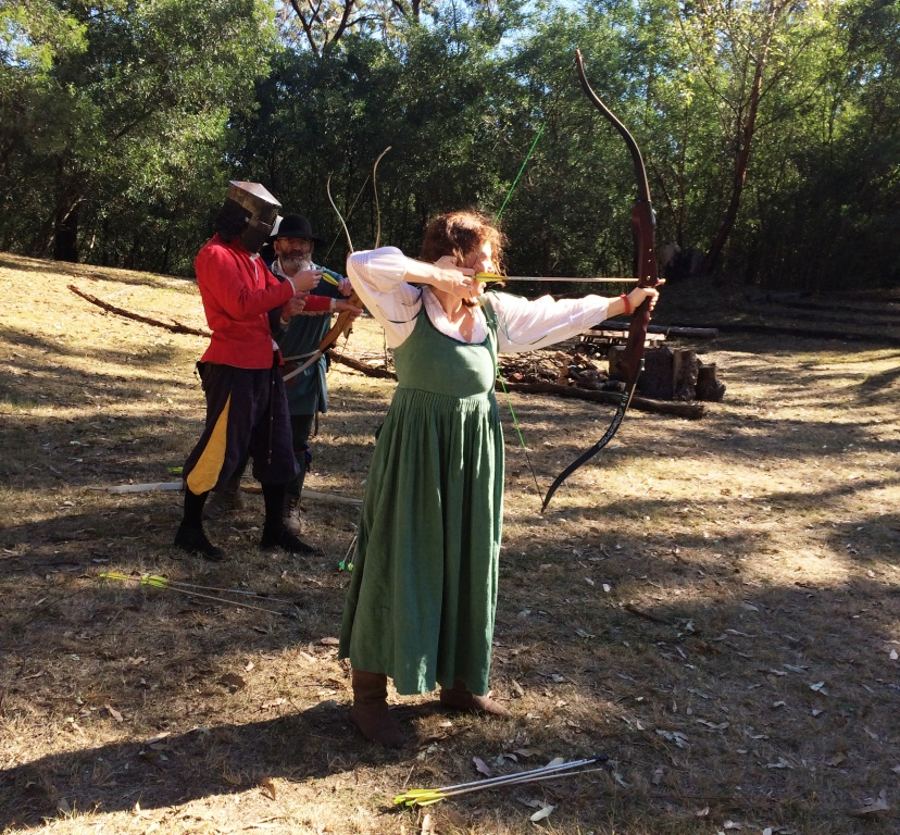 ICW combat archery training run by Lord Ranif. Photo by TH Lady Ceara Shionnach, July 2014