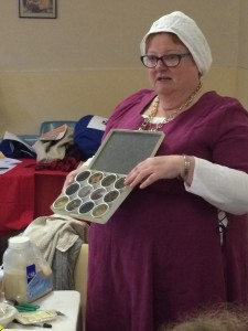 Mistress Filippa's hands-on teaching of period spices. Photo by TH Lady Ceara Shionnach, July 2014