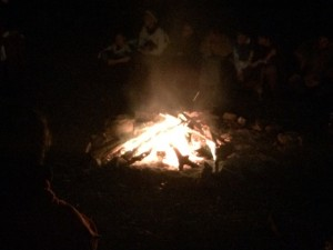 The toasty fire that was the centre point of the bardic circle at ICW 19. Photo by TH Lady Ceara Shionnach, July 2014