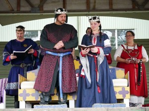 King Niall I and Queen Liadan I at the St Florian de la Riviere baronial changeover. Photo by Yaroslava Solovei, 2013.