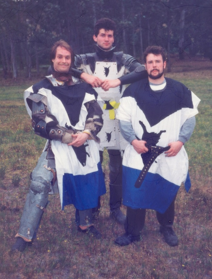 Circa AS25 (1991) – Tanw the Confused, Stigh Joghenson, and Mador de Mar. Tanw is wearing the One True Tabard.