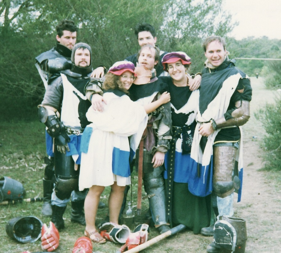 Circa AS26(1992) – Stigh, Mador, Ariadne of Marakis, Tanw, Giblet Gibletson, Eloise Darnell and Corin Anderson during a break in the Field Battle.