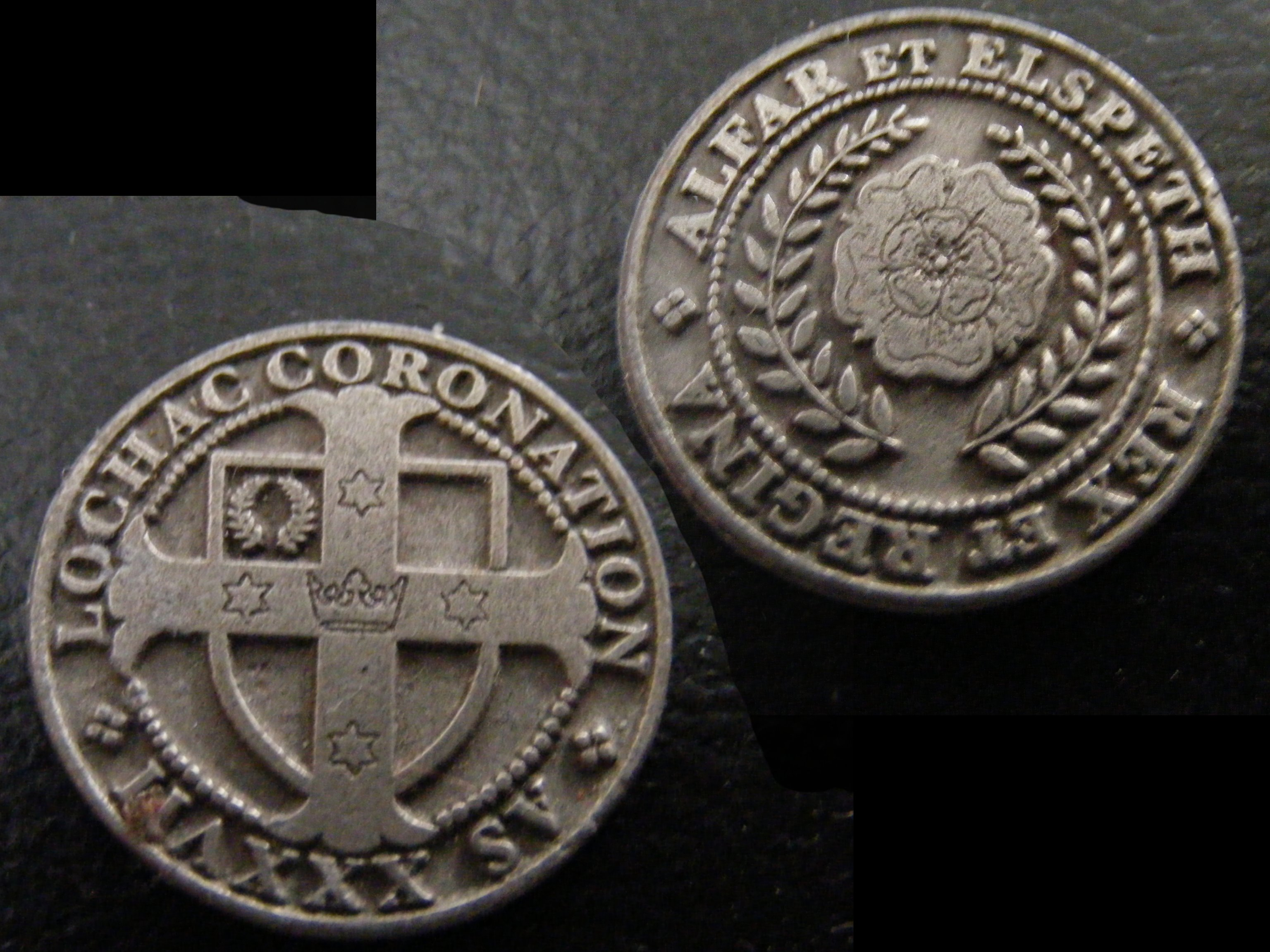 The event token from Lochac's First Coronation. Photo provided by Baron Dallán ua Lorccáin.