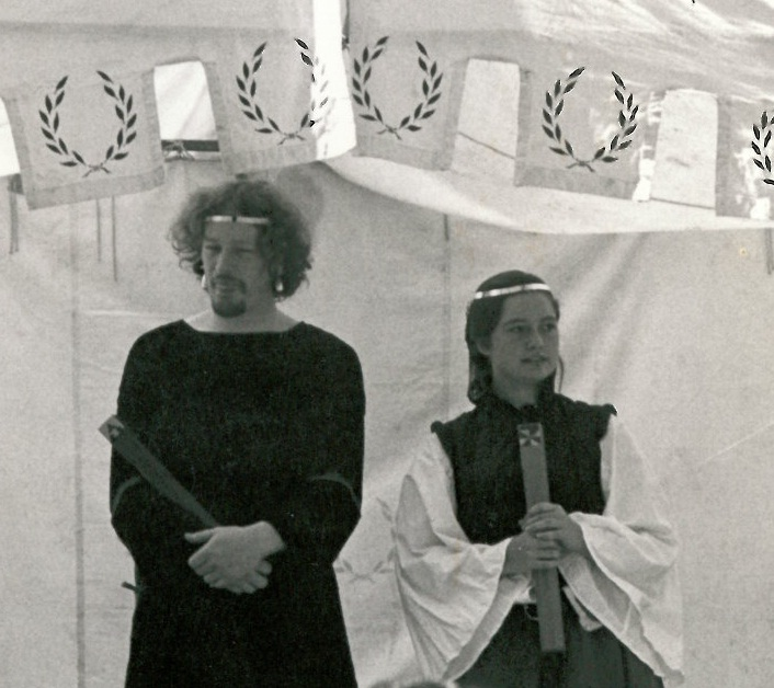 The Viceroy and Vicereine circlets, as worn by Reynardine de Clifford and Marguerité de Rada y Silva at the Viceregal Tournament in River Haven 1986. Photo by Mistress Francesca Cellini.