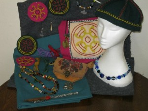 Lochac Kingdom Raffle prizes from 2012 – Norse themed. Photo by Countess Lilya bint Hizir.