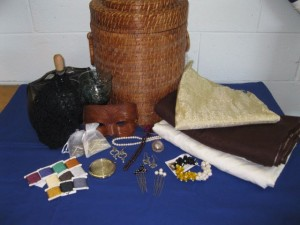 Lochac Kingdom Raffle prizes from 2013 – Late period themed. Photo by Countess Lilya bint Hizir.