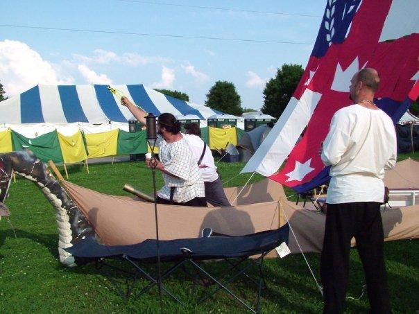The Longship Lochac in the Lochac encampment at Pennsic War 33 (AS 39, 2004). Photo by Constanzia Moralez y de Zamora.