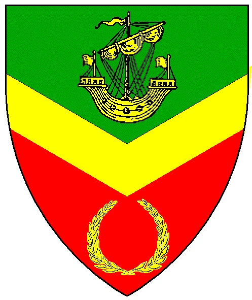 """Arms of the Barony of Mordenvale: """"Per chevron inverted vert and gules a chevron inverted between a lymphad and a laurel wreath Or"""