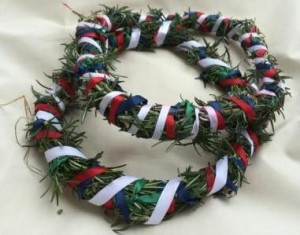The Champion Wreaths from November Crown 2014, made by Countess Liadan ingen Fheradaig. Photo by TH Lady Ceara Shionnach.