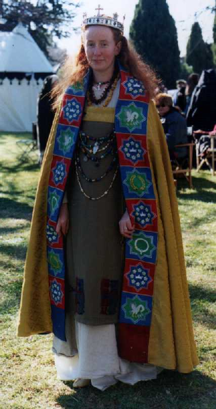 Gudrun, first Queen of Lochac, wearing one of the Ceremonial Mantles of Lochac. Photo courtesy of the Worshipful Company of Broiderers.