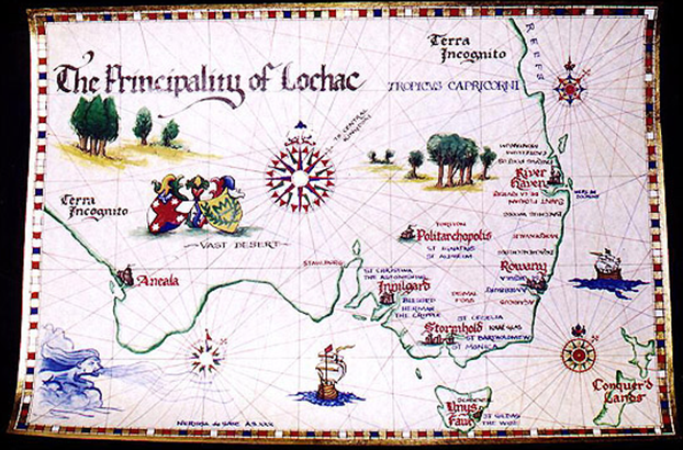 A map of the Principality of Lochac, made by Nerissa de Saye.