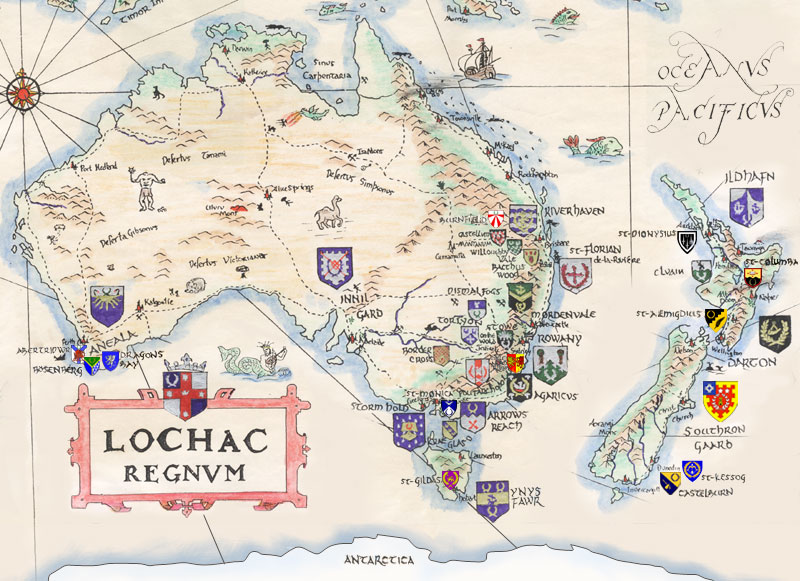 Map of Lochac, hand-drawn by Lord Benedict Stonhewer of Askerigg and updated by Lord Ronan mac Brian.