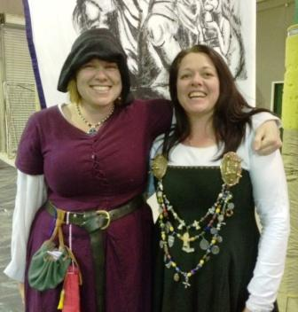 Lady Amelot de Akeney (right) was named Herald, and TH Lady Ceara Shionnach was named Persuivant, in the Lochac College of Heralds. Photo courtesy of TH Lady Ceara Shionnach.