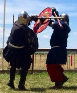 Riddarri Lucas (left) and His Majesty Niall (right) competing in armoured combat. Photo by TH Lady Ceara Shionnach, November 2014.